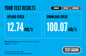 Test result while connected directly to modem.