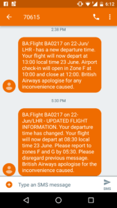 Text messages from British Airways showing their inability to pin down a flight time for BA 217.