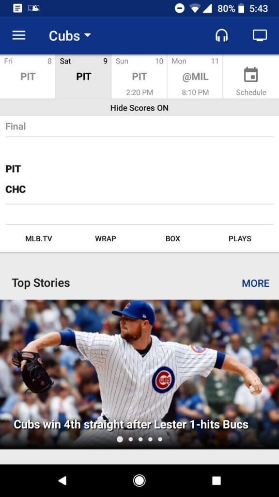 MLB At Bat App Spoils Scores